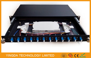 China 1U 19 Inch Sliding Rack Mount Fiber Optic Patch Panel 12 Port LC Duplex distributor