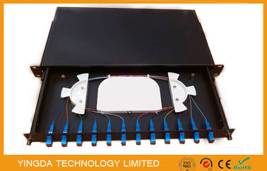 China SC Connector 12 Core Fiber Optic Patch Panel , ODF Optical Distribution Frame distributor